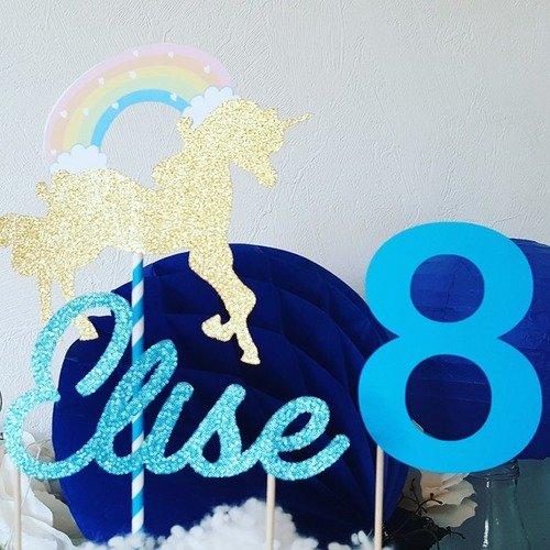 Décoration gâteau -prénom en pailleté turquoise+ age papier turquoise + licorne