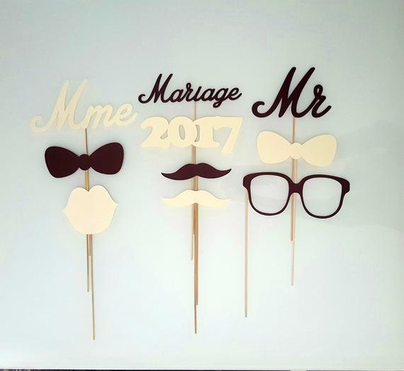 Lot de photobooth mariage-monsieur-madame- ivoire et chocolat