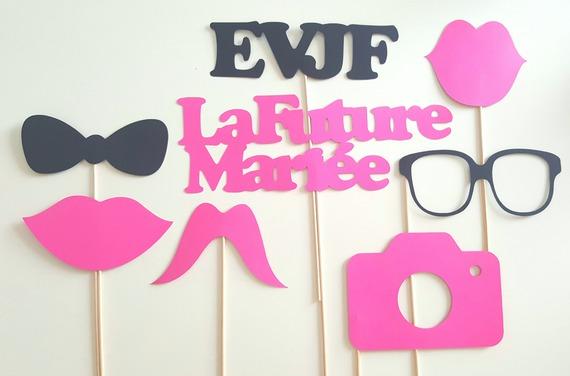 Lot de 8 accessoires photobooth pour EVJF - fuchsia et noir