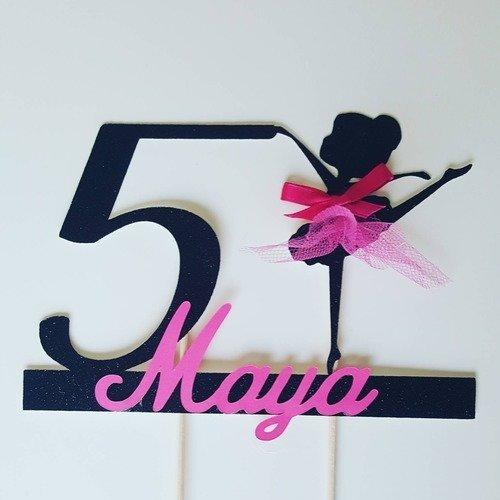 Décoration gateau - cake topper danseuse doré + age+prenom rose fuchsia -fete anniversaire enfant