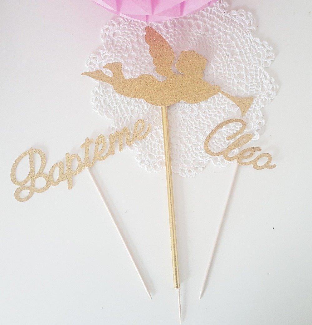 Décoration gâteau -prénom + bapteme + ange en papier pailleté dore