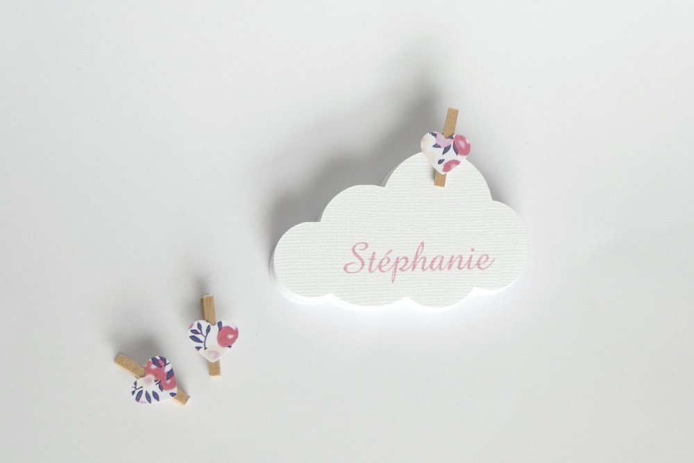 Marque-place nuage liberty Wiltshire / pois de senteur