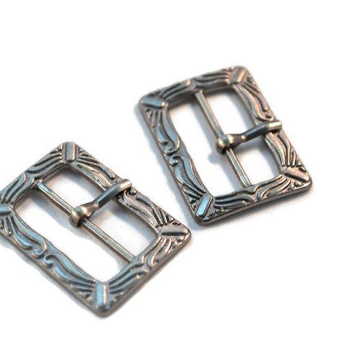 Lot x 2 boucle de ceinture bracelet bijoux métal argenté ornement 33x24mm