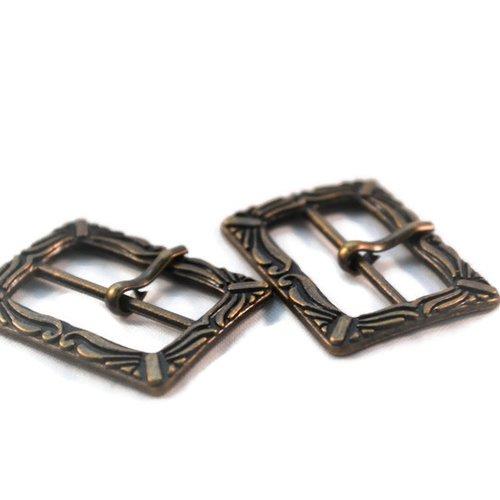 Lot x 2 boucle de ceinture bracelet bijoux métal bronze ornement 33x24mm