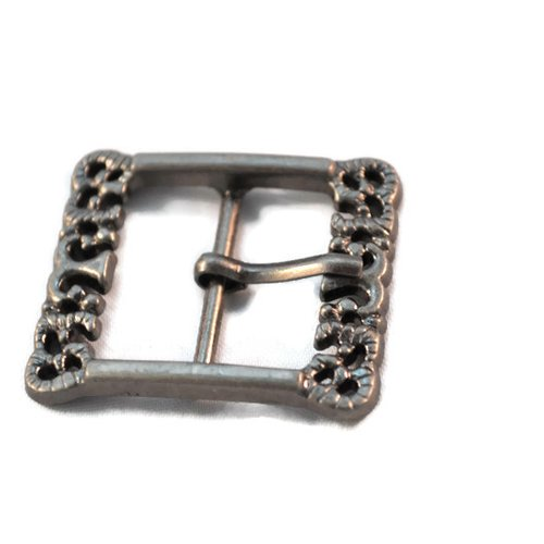 Lot x 2 boucle de ceinture bracelet bijoux métal argenté foncé gunmétal ornement 39x34mm