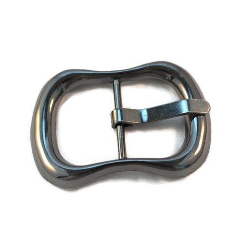 Boucle de ceinture bracelet bijoux métal argenté foncé gunmétal 64x45mm