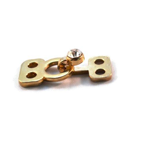 Lot x 2 système agrafe attache fermoir couture vêtement bijoux strass métal doré or 17x12 mm