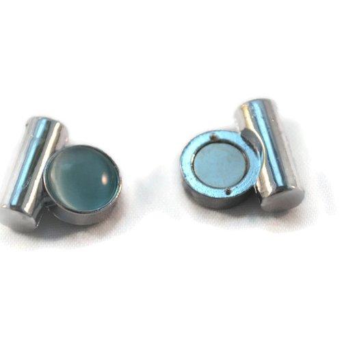 Fermoir attache clip métal argenté cabochon bleu reflet magnétique aimant puissant 21 x 17 mm