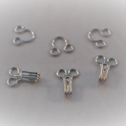 Lot x 20 agrafes couture vêtement argenté gris maintien 8x6 mm