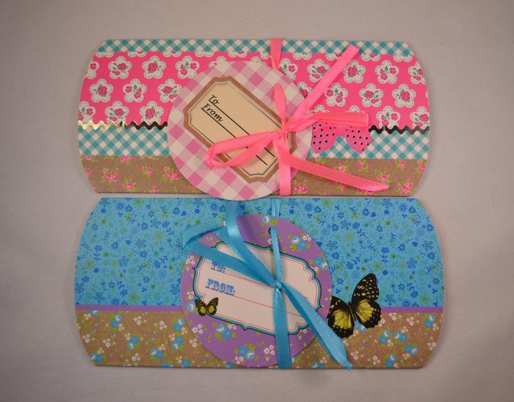 lot x 2 emballage boîte berlingot carton mignon fleurs brillant cadeaux