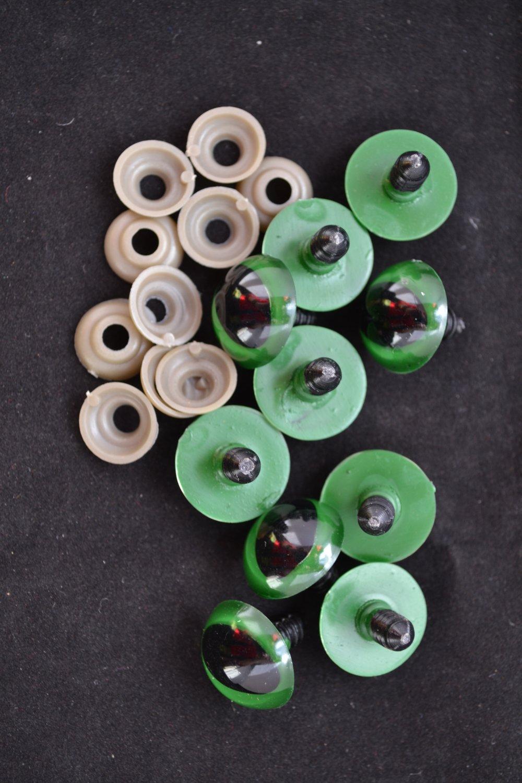 lot x10 yeux oeil chat dragon reptile animal vert 20 mm peluche jouet