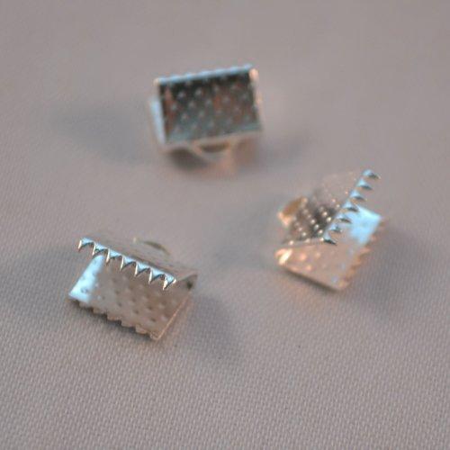 Lot x 20 griffe attache fermeture ruban bijoux création loisir argenté 8x8mm
