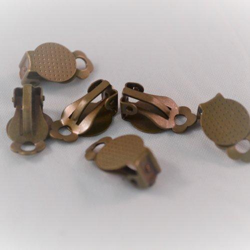 Lot x6 clip métal bronze décoration chaussure vêtement plateau boucle d'oreille 10 mm