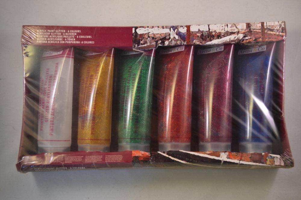 lot kit x 6 tubes de peinture acrylique paillette blanc doré vert rouge rose bleu