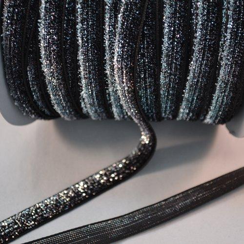 Lot 5 mètres ruban paillette velours métallique noir argenté fête noeud collage accessoire vêtement