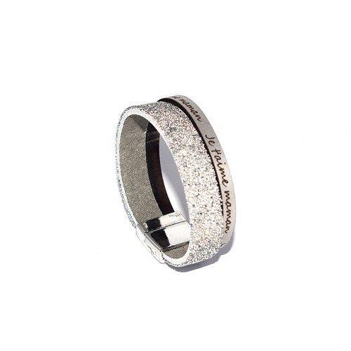 """Kit """"diy"""" bracelet """"je t'aime maman"""" argenté cuir et swarovski (cristal fabric)"""