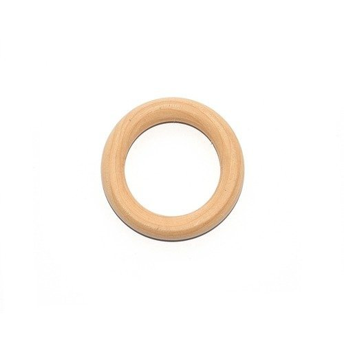 Anneau de dentition rond en bois naturel 56mm