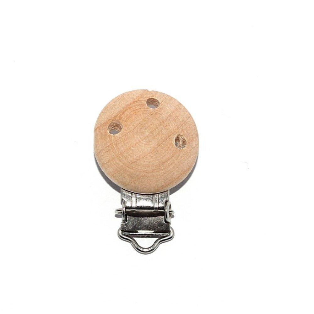 Attache tétine en bois naturel (3 trous ventilation)