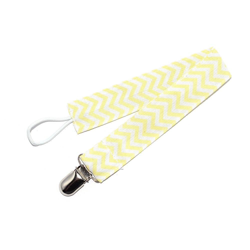 Attache tétine en tissu motif jaune et blanc