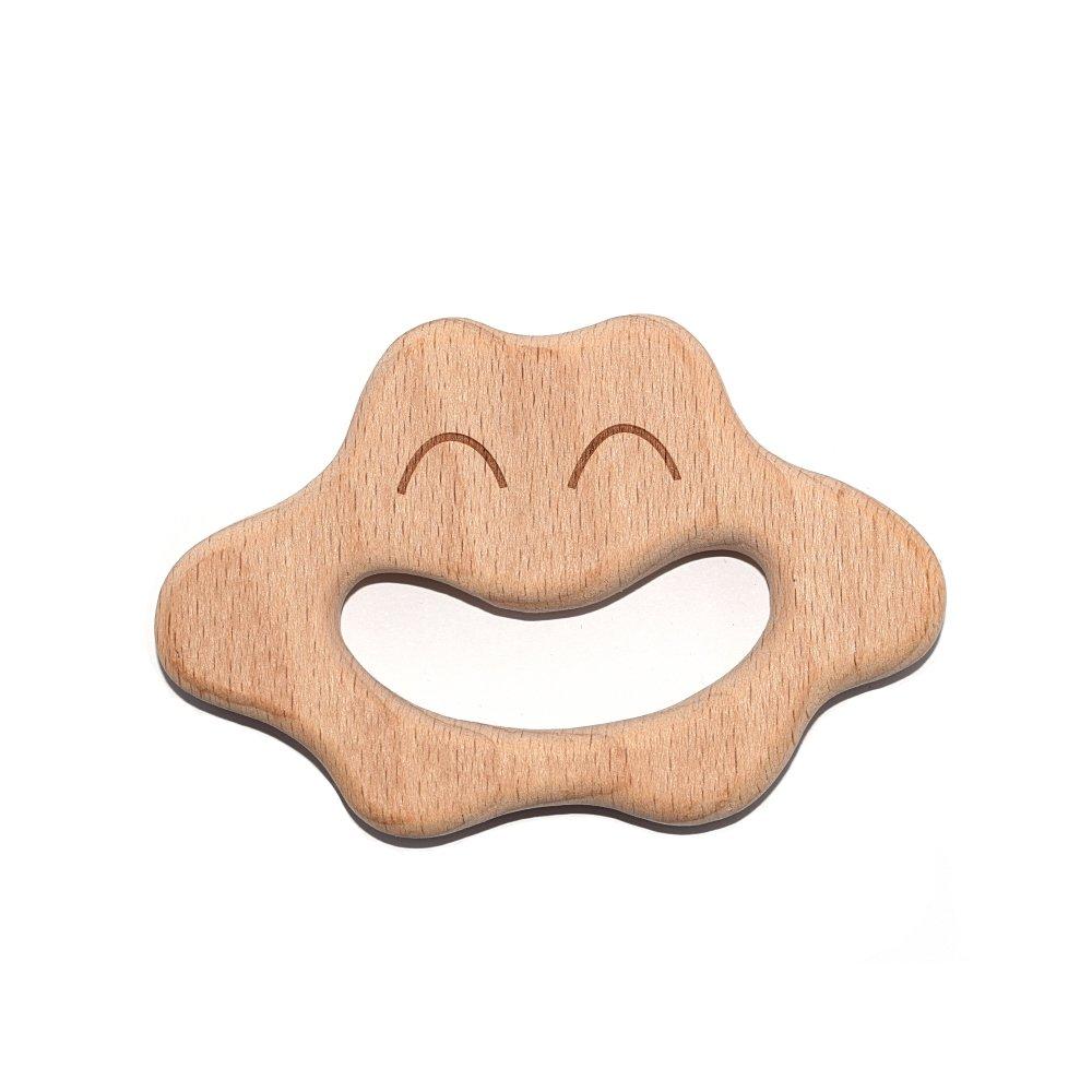 Anneau de dentition en bois naturel - nuage
