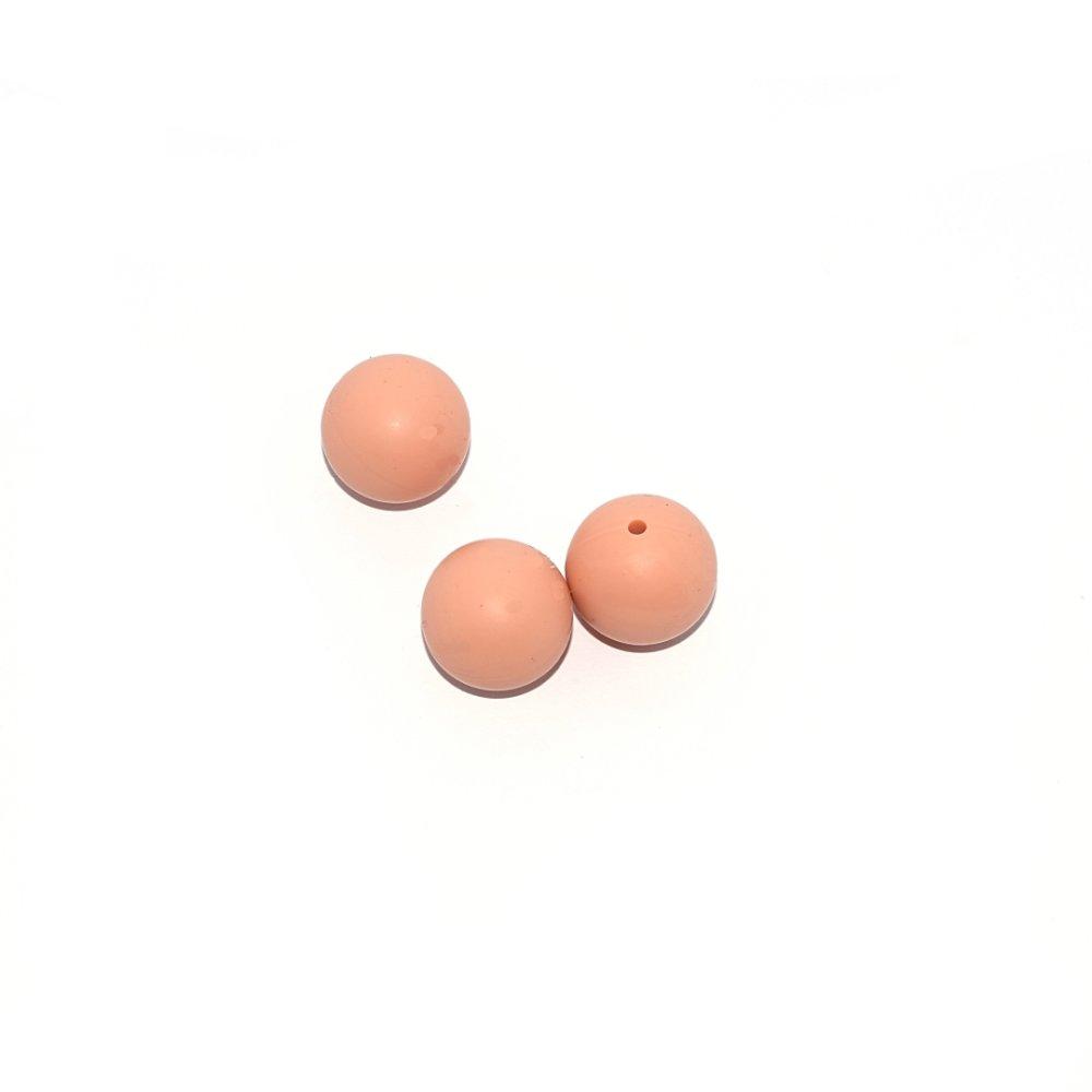 Perle ronde 20 mm en silicone beige