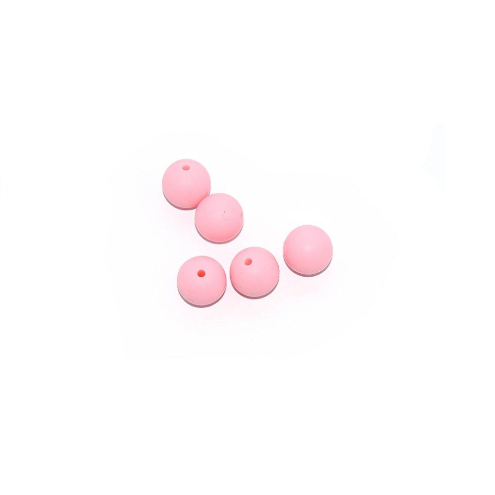 Perle ronde 15 mm en silicone rose clair
