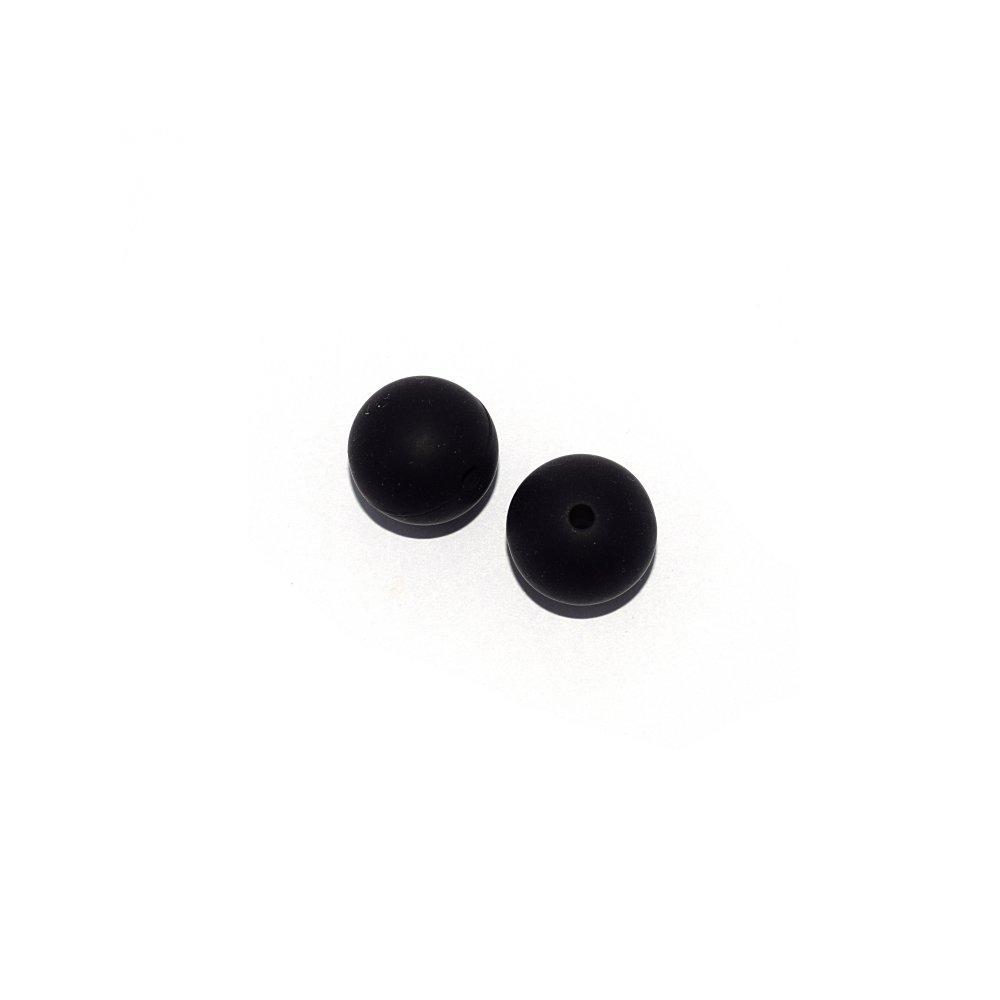 Perle ronde 15 mm en silicone noir