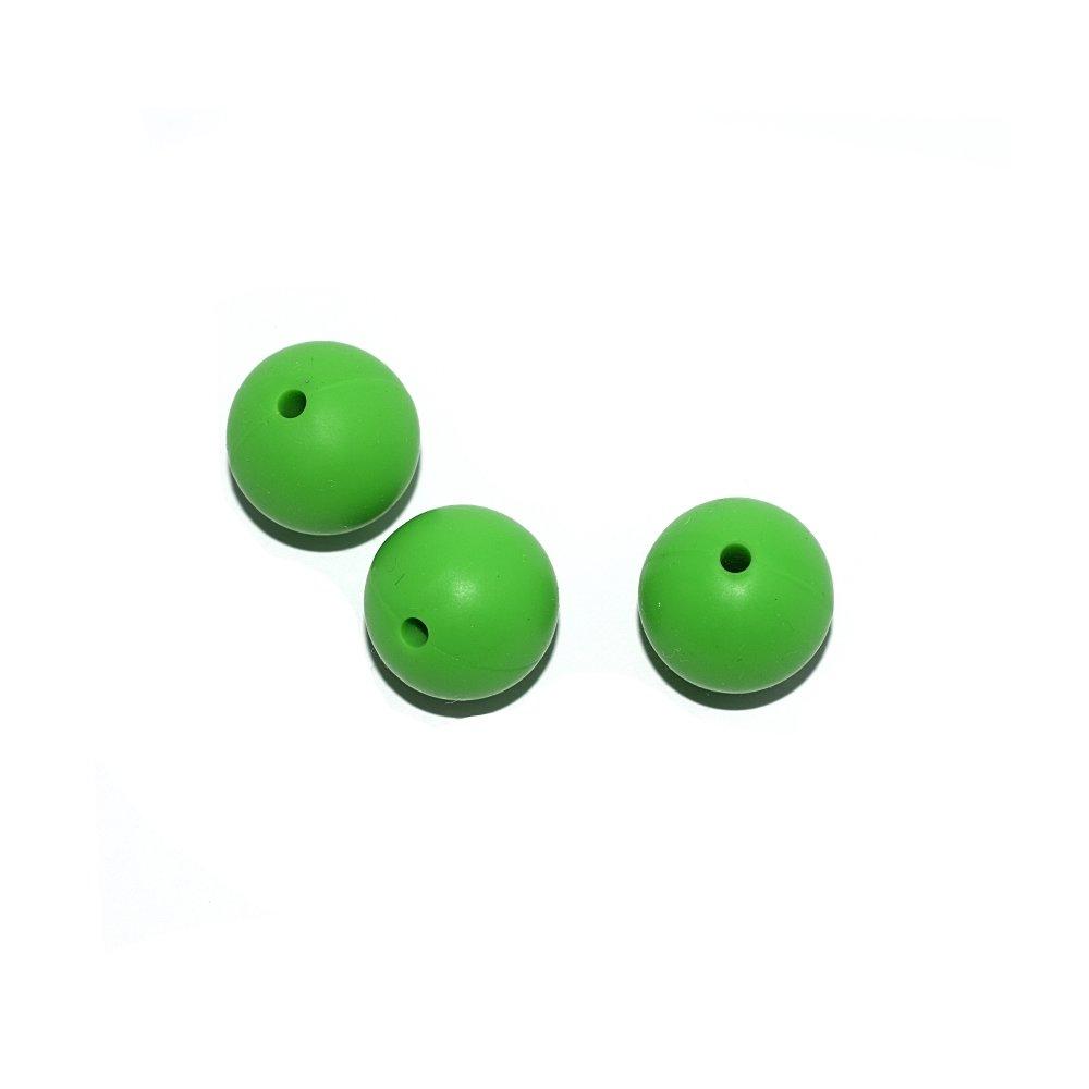 Perle ronde 15 mm en silicone vert prairie