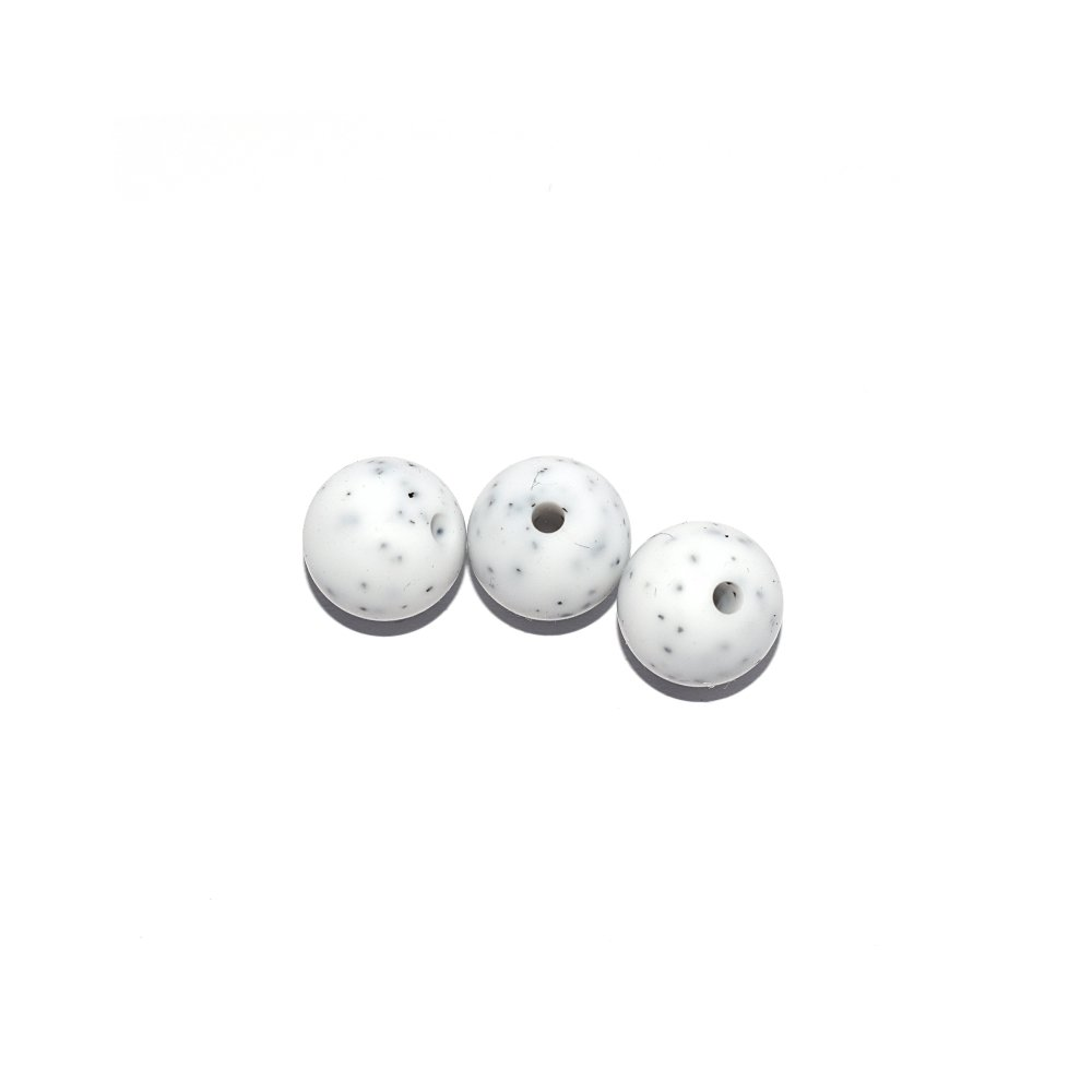 Perle ronde 12 mm en silicone granit blanc