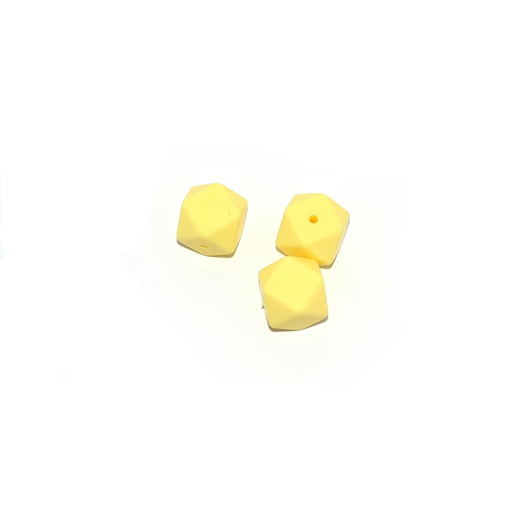 Perle hexagonale 17 mm en silicone jaune