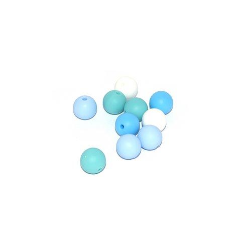 Perle silicone camaïeu bleu 12 mm x10