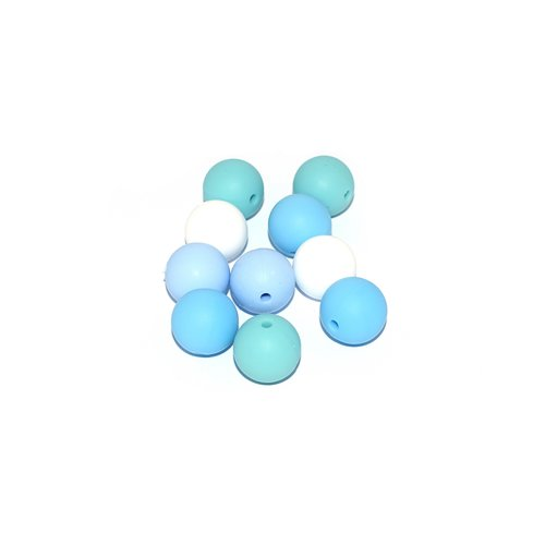 Perle silicone camaïeu bleu 15 mm x10