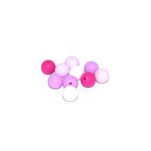 Perle silicone camaïeu mauve 12 mm x10