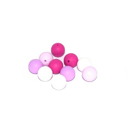 Perle silicone camaïeu mauve 15 mm x10