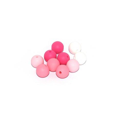 Perle silicone camaïeu rose 12 mm x10
