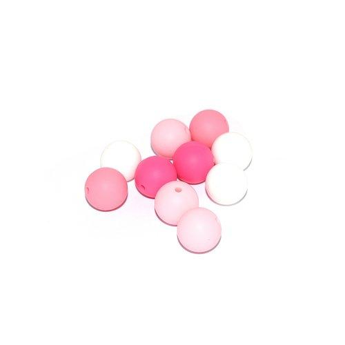 Perle silicone camaïeu rose 15 mm x10