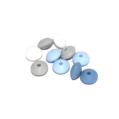 Perle lentille silicone camaïeu bleu-gris x10