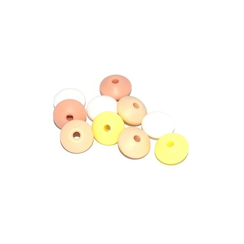 Perle lentille silicone camaïeu beige-jaune x10