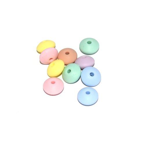 Perle lentille silicone camaïeu pastel x10