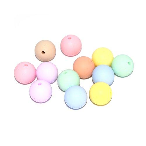 Perle silicone camaïeu pastel 15 mm x10