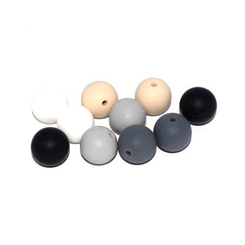 Perle silicone camaïeu noir, gris, blanc 12 mm x10