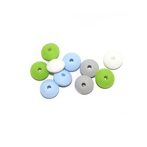 Perle lentille silicone camaïeu vert-blanc x10