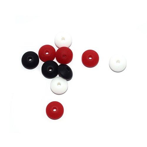 Perle lentille silicone camaïeu noir-rouge-blanc x10