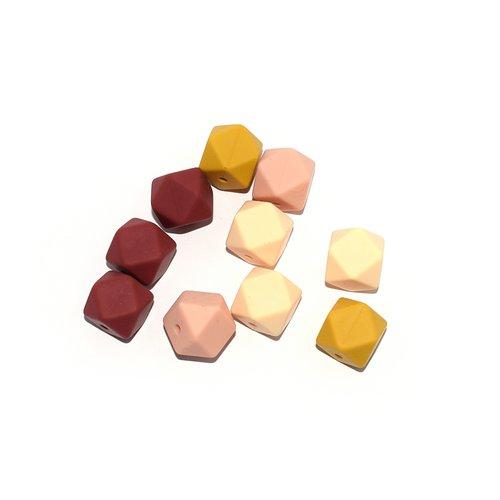 Perle hexagonale silicone 14 mm camaïeu jaune, beige x10