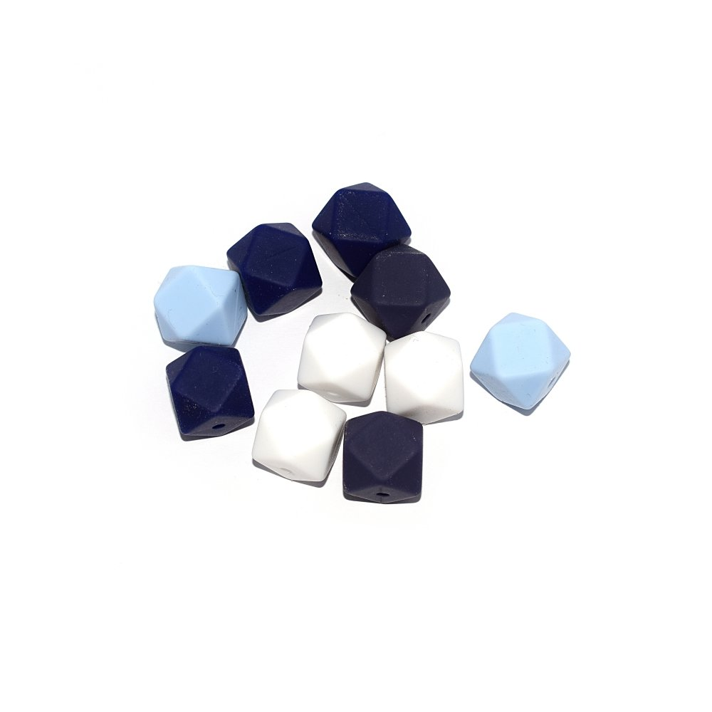 Perle hexagonale silicone 14 mm camaïeu bleu, blanc x10