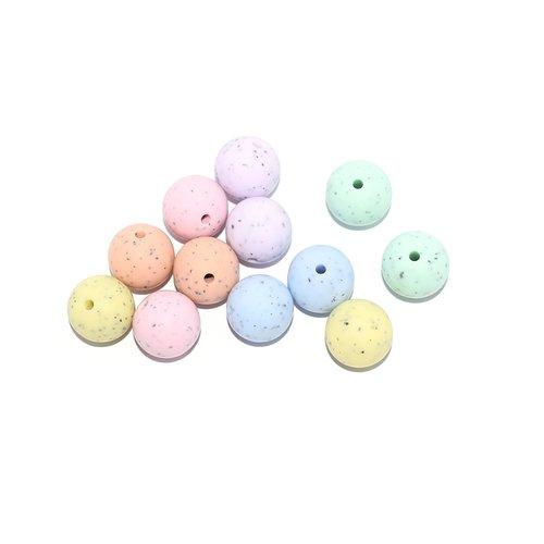 Perle silicone 15 mm camaïeu granite x10