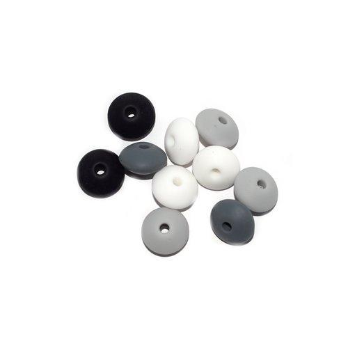 Perle lentille silicone camaïeu noir-gris-blanc x10