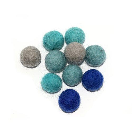 Boule en laine feutrée 20 mm camaïeu bleu gris x10
