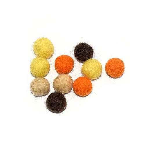 Boule en laine feutrée 20 mm camaïeu jaune, orange, marron x10