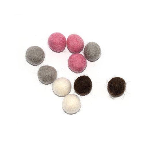 Boule en laine feutrée 20 mm camaïeu rose, beige, gris et marron x10
